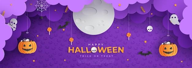 Happy halloween trick ou traiter le style de coupe de papier de bannière