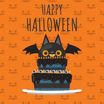 Happy halloween vampire ba sur le gâteau.