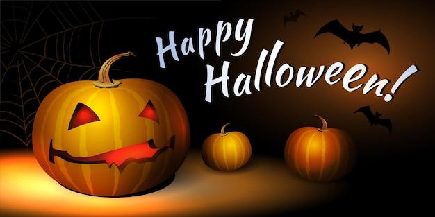 Happy halloween vector illustration avec composition horizontale chauve-souris et citrouille