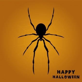 Happy hallowen avec une araignée sur une toile d'araignée