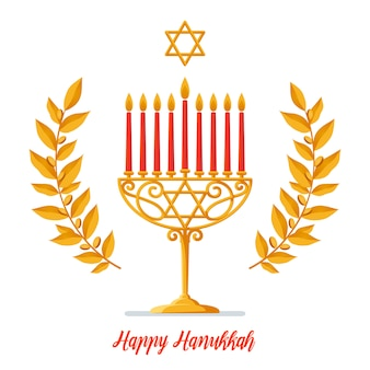 Happy hanukkah salutation inscription - hanoukka or menorah avec bougies rouges