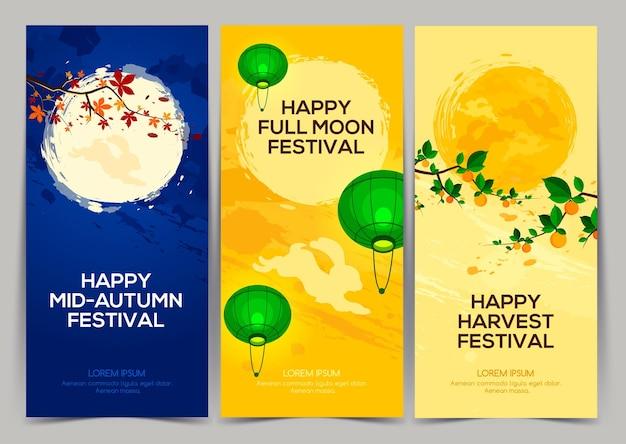 Happy harvest mid autumn festival trois bannières du festival de la pleine lune