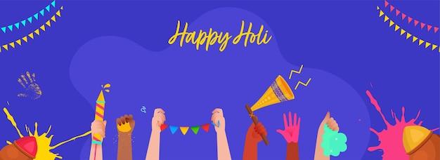 Happy holi concept avec les mains des gens tenant des couleurs