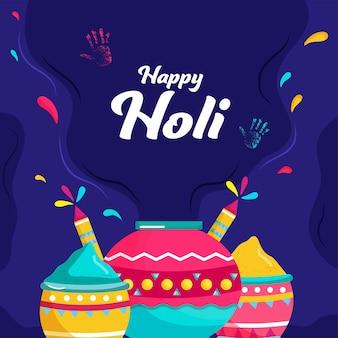 Happy holi concept avec des pots d'argile pleins de poudre de couleur