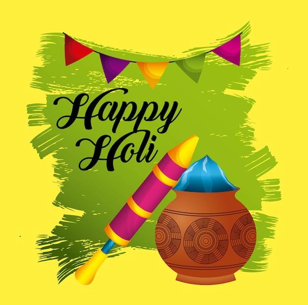 Happy holi fête festive traditionnelle affiche invitation