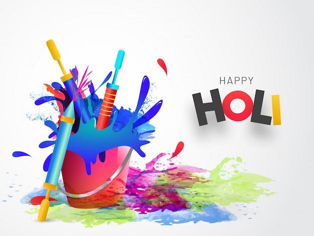 Happy holi fond avec seau de couleur et des fusils pour la fête indienne