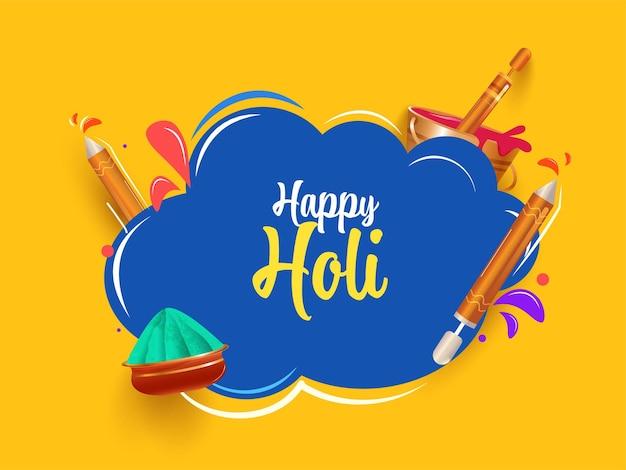Happy holi font avec des enfants de dessins animés jouant aux couleurs