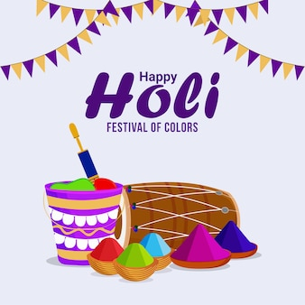 Happy holi ou holika dehan avec bonefire créatif et arrière-plan