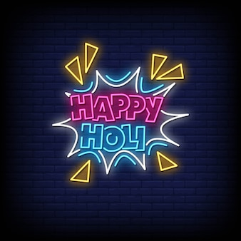 Happy holi neon signs style texte