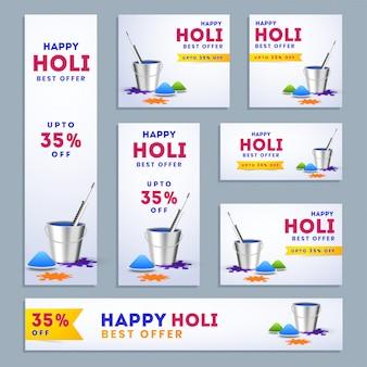 Happy holi social media set.