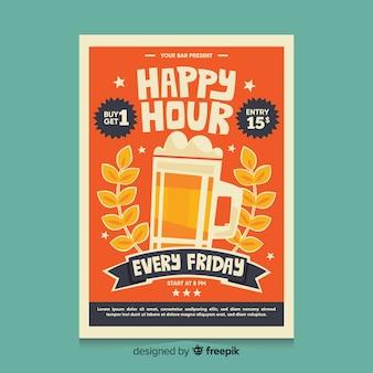 Happy hour affiche avec de la bière dans une chope