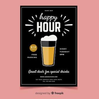 Happy hour affiche avec chope de bière