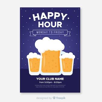 Happy hour affiche avec des chopes à bière