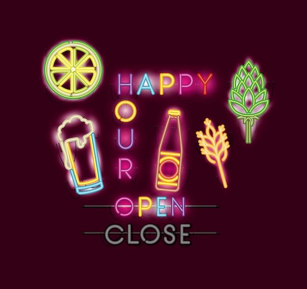 Happy hour avec bar set icônes néons