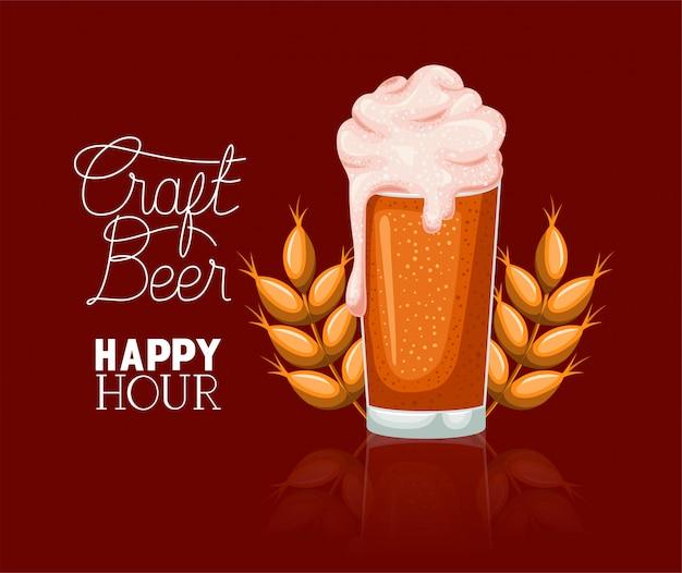 Happy hour bière étiquette avec verre et pointes