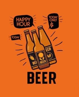 Happy hour étiquette de bière avec des bouteilles