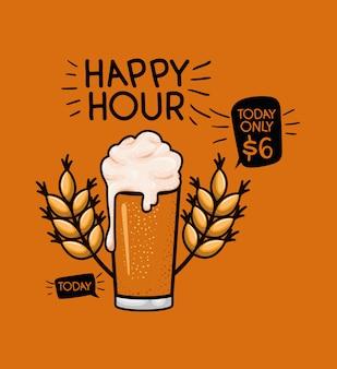 Happy hour étiquette de bière avec verre et feuilles