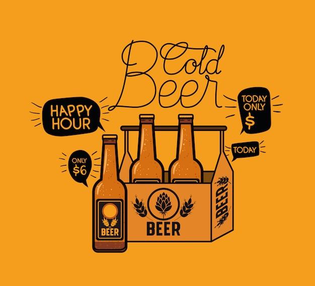 Happy hour étiquette de bières avec des bouteilles dans le panier