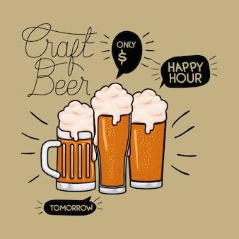 Happy hour étiquette de bières avec pot et verres