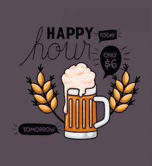 Happy hour étiquette de bières avec pot