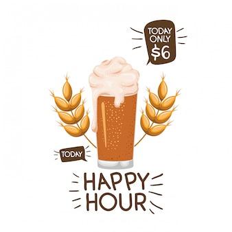 Happy hour label avec icône isolé de la bière