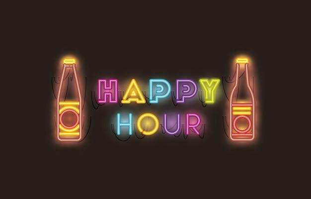 Happy hour avec des polices de bouteilles de bière