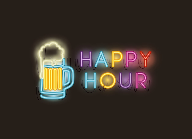 Happy hour avec des polices de pot de bière