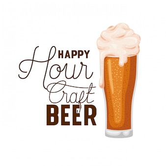 Happy hour verre à étiquette de bière artisanale