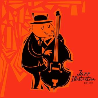 Happy jazz guy illustration