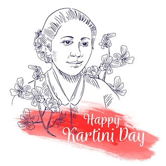 Happy kartini day croquis dessinés à la main