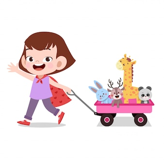 Happy kid fille tirant wagon jouets animal de compagnie
