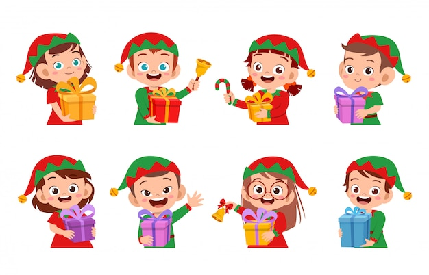 Happy kids expression smile set de noël