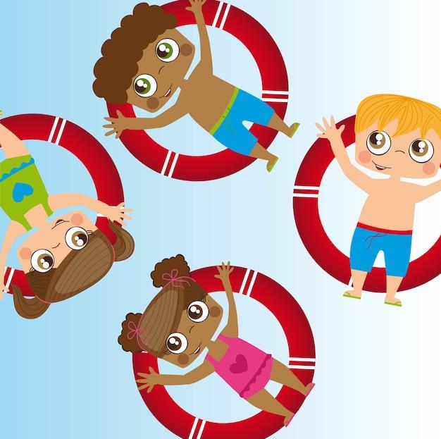 Happy kids, jouant sur la piscine, illustration vectorielle