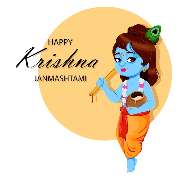 Happy Krishna Janmashtami Lord Krishna Avec Flûte Et Pot Vecteur Premium