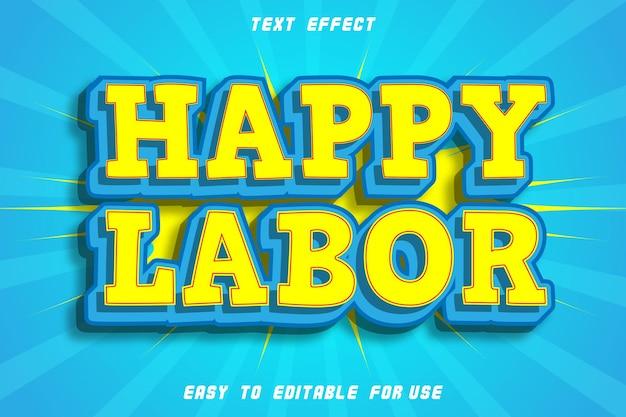 Happy labor effet de texte modifiable emboss style comic