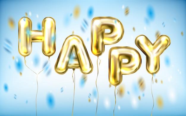 Happy lettrage, affiche disco par des ballons brillants