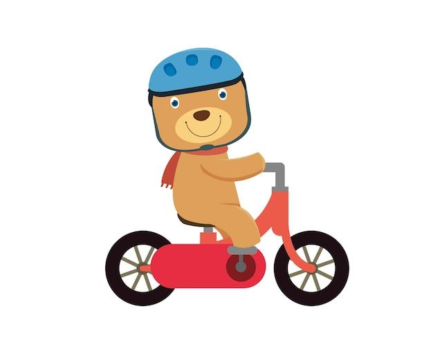 Happy little bear sur un vélo rouge