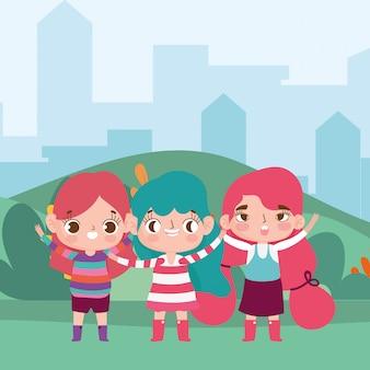Happy little girls park outdoor city