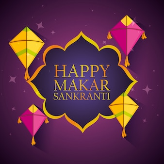 Happy makar sankranti badge avec des cerfs-volants