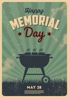 Happy memorial day, signe de soirée barbecue. invitation à une soirée barbecue. illustration de typographie vintage