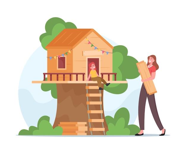 Happy mother building tree house pour petite fille. personnage féminin souriant tenant des planches de bois dans les mains. personnages de famille amusement en plein air, temps libre, vacances. illustration vectorielle de gens de dessin animé