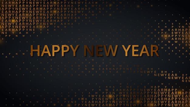 Happy new 2022 year.realistic vector illustration de vacances. fond noir avec nombres d'or et motif de demi-teintes de typographie. modèle de carte de voeux ou d'invitation à une fête en or