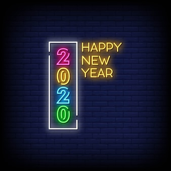 Happy new year 2020 neon signs style texte
