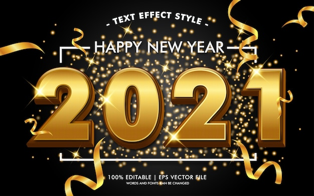 Happy new year 2021 gold texte effets style