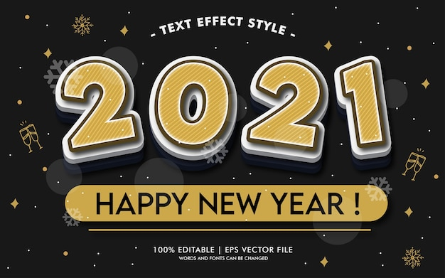 Happy new year 2021 party text effects style