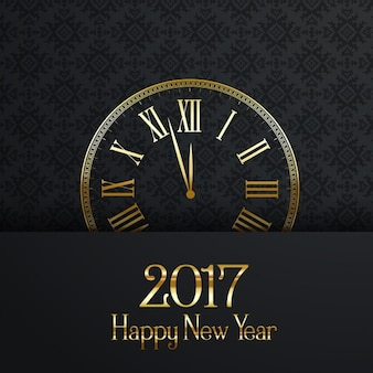 Happy New Year fond avec horloge décorative