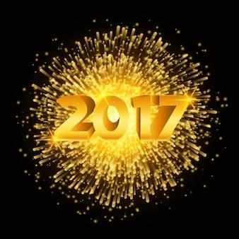 Happy new year fond avec des feux d'artifice d'or