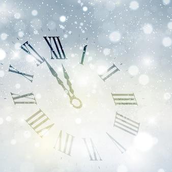 Happy new year fond avec le visage d'horloge
