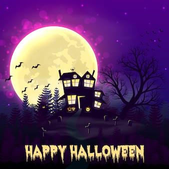 Happy night background de halloween avec la maison hantée.