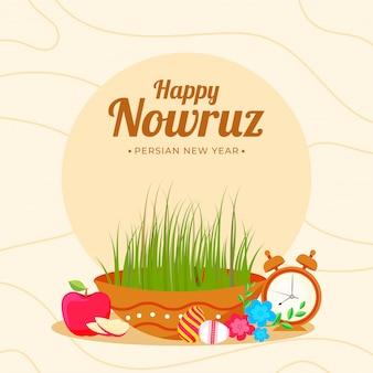 Happy nowruz, conception d'affiche de célébration du nouvel an persan avec bol de semeni (herbe), œufs, pomme, fleurs et réveil sur fond abstrait.
